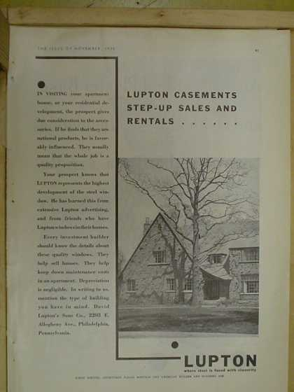 Lupton Casements. Step up sales and rentals (1930)