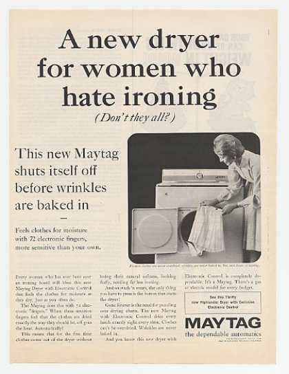 Maytag Electronic Control Dryer Hate To Iron (1962)