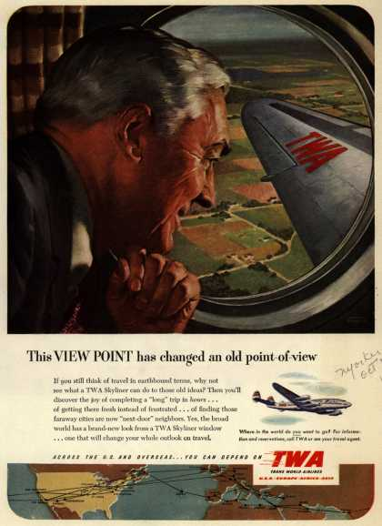 Trans World Airline's Skyliner – This View Point has changed an old point-of-view (1951)