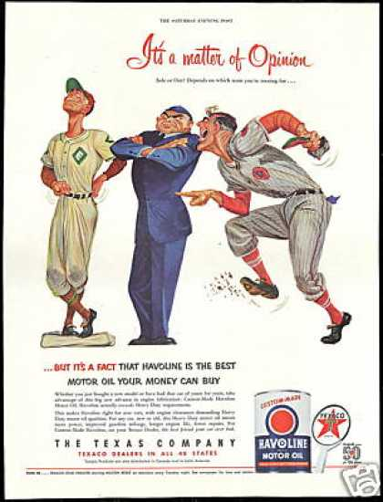 Baseball Player Umpire Opinion Texaco Oil (1952)
