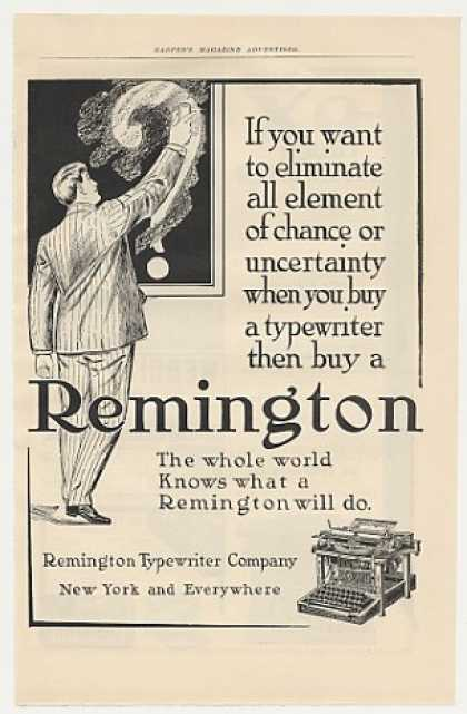 Remington Typewriter Eliminate Uncertainty (1905)