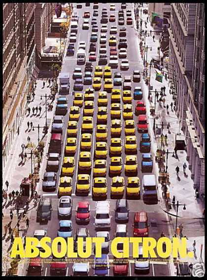 Absolut Citron Vodka Taxi Cabs City Street (2001)