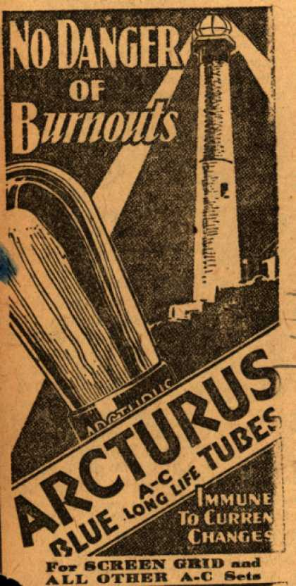 Arcturu's Radio Tubes – No Danger of burnouts (1929)