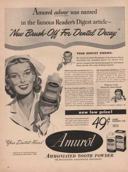 Amurol Ammoniated Tooth Powder (1949)