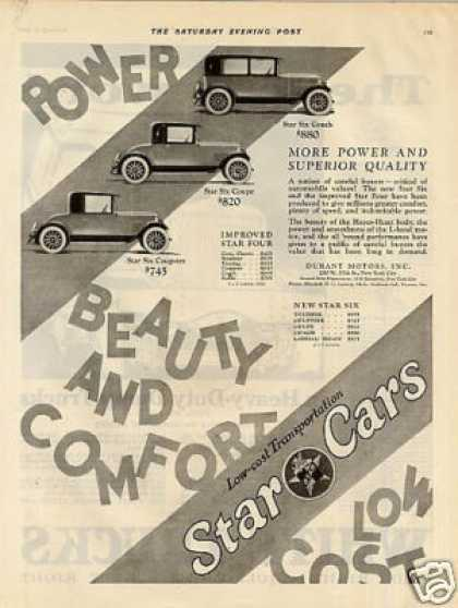 Durant Motors Star Cars Ad 3 Models (1926)