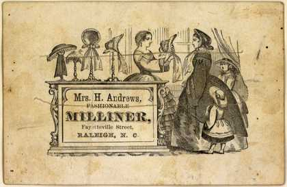 Mrs. H. Andrew's New and Fashionable Millinery goods – Fashionable Milliner