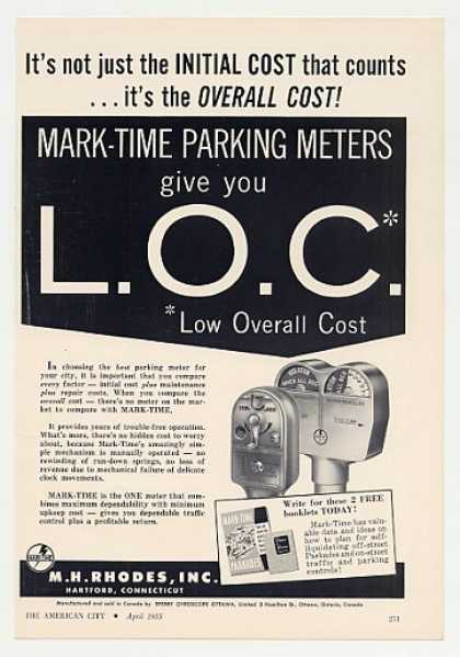 M H Rhodes Mark-Time Parking Meters (1955)