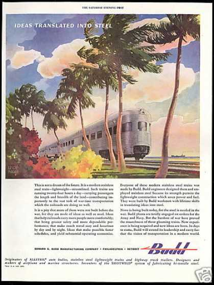 Budd Stainless Train Leslie Ragan Art WWII (1944)