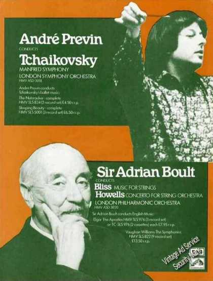 Andre Previn & Sir Adrian Boult Photos Emi Uk (1974)
