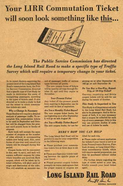 Long Island Rail Road's ticket change – Your LIRR Communication Ticket will soon look something like this... (1948)
