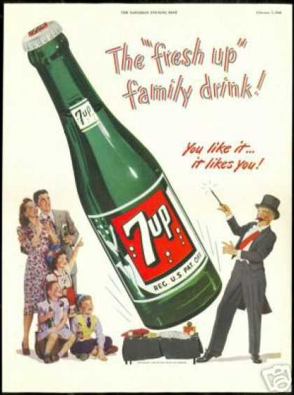 Big 7up 7-up Bottle Magician Family Drink (1948)