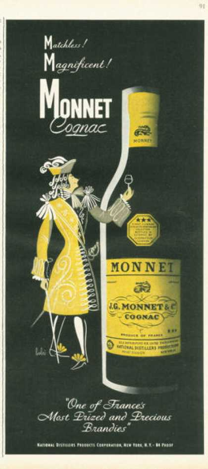 Monnet Cognac Brandy of France Bottle (1955)