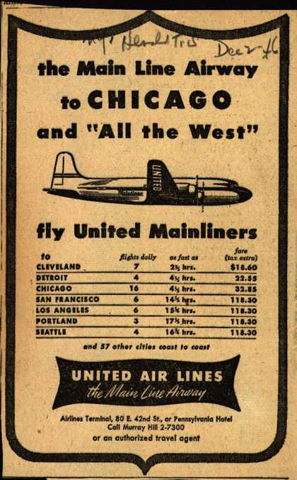 "United Air Line's Chicago – the Main Line Airway to CHICAGO and ""All the West"" (1946)"