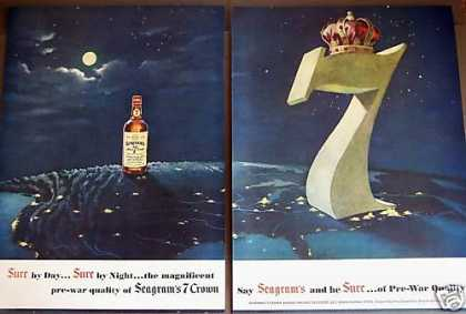 Seagram's 7 Crown Whiskey Pre-war Quality (1949)