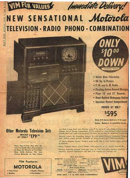 Motorola's Radio Phonograph Television – New Sensational Motorola Television-Radio Phono-Combination (1948)