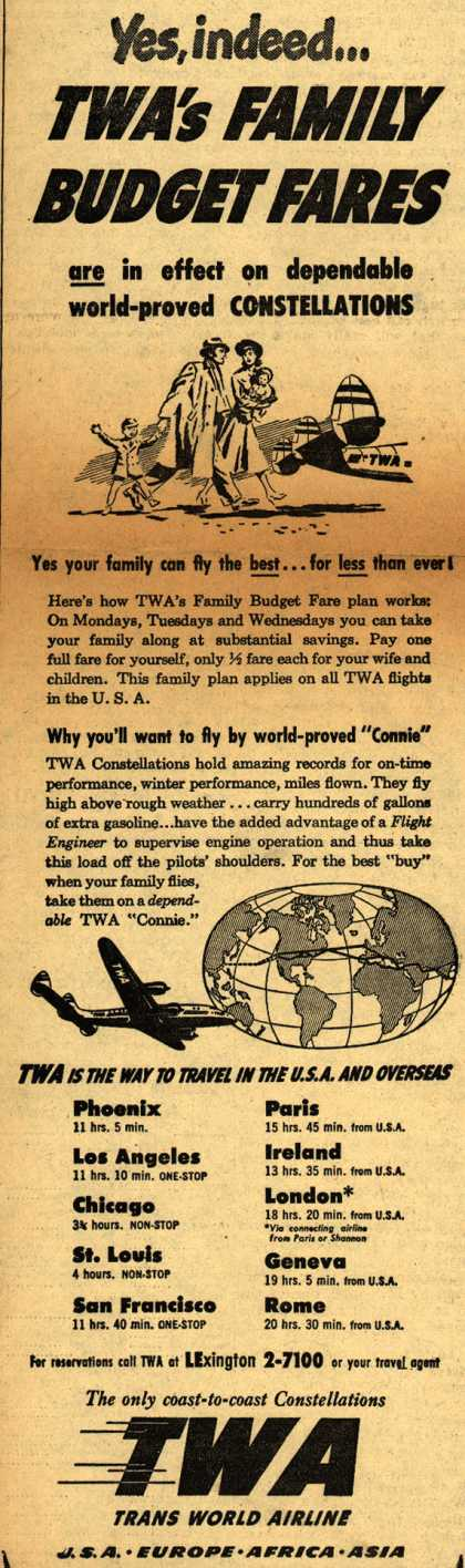 Trans World Airline's Family Budget Fare plan – Yes, indeed... TWA's Family Budget Fares (1948)