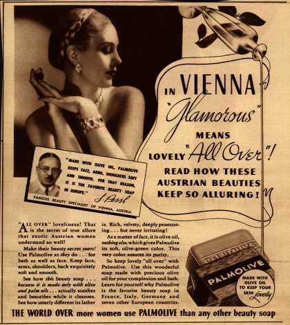 "Palmolive Company's Palmolive Soap – In Vienna ""Glamorous"" Means Lovely ""All Over!"" (1935)"