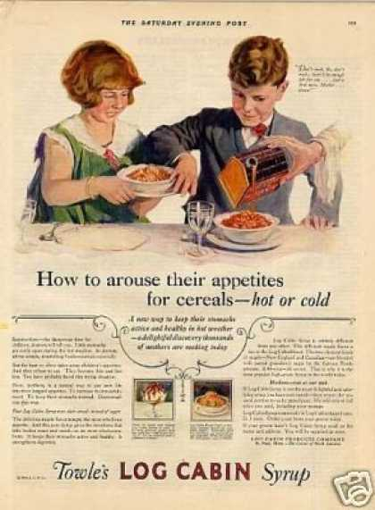 Log Cabin Syrup Color Ad &quot;How To Arouse... (1926)