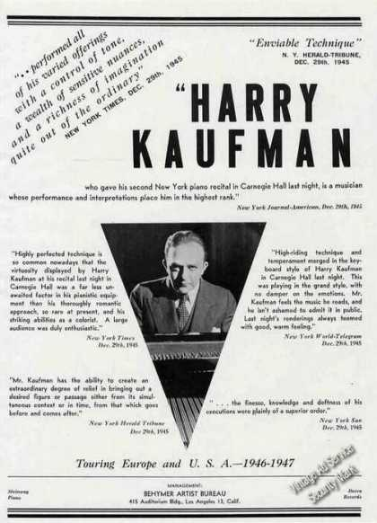 Harry Kaufman Photo Piano Booking (1946)