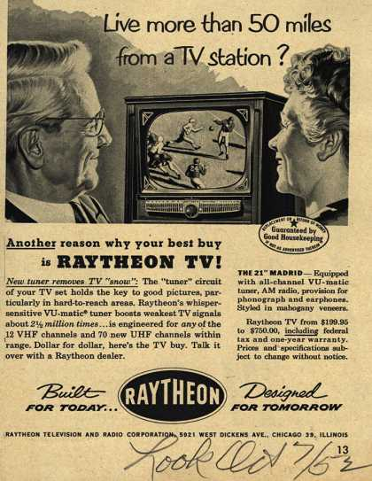 Raytheon Television and Radio Corporation's Television – Live more than 50 miles from a TV station? (1952)