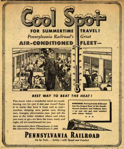Pennsylvania Railroad – Cool Spot For Summertime Travel! Pennsylvania Railroad's Great Air-Conditioned Fleet- best Way To beat The Heat (1950)