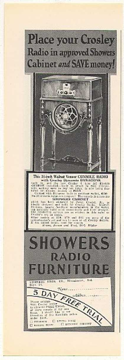 Crosley Console Radio Showers Cabinet (1928)