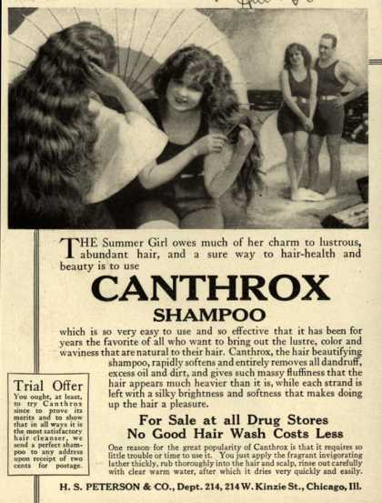 H.S. Peterson & Company's Canthrox Shampoo – The Summer Girl owes much of her charm to lustrous, abundant hair, and a sure way to hair-health and beauty is to use Canthrox Shampoo (1920)