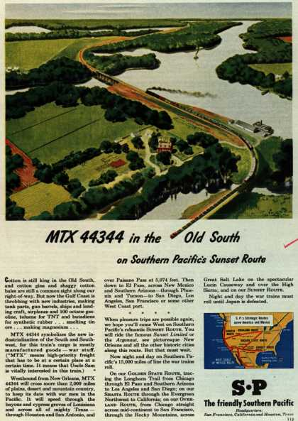 Southern Pacific's Sunset Route – MTX 44344 in the Old South (1945)