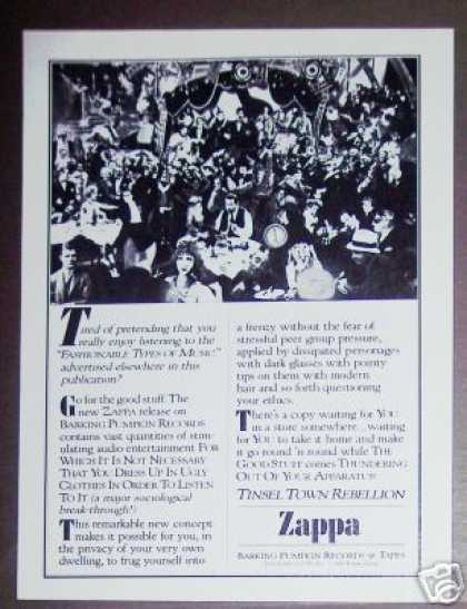 Zappa Tinsel Town Rebellion Record Album Promo (1981)