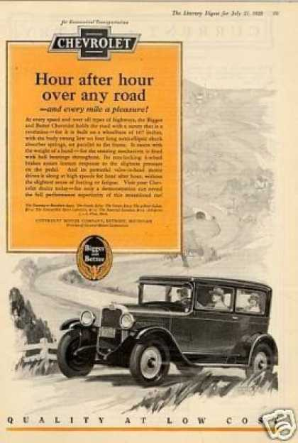 "Chevrolet Car Ad ""Hour After Hour... (1928)"