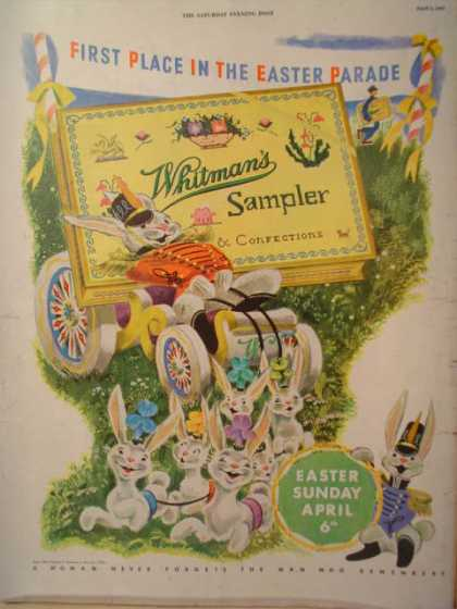 Whitman's sample chocolate Easter Theme (1947)