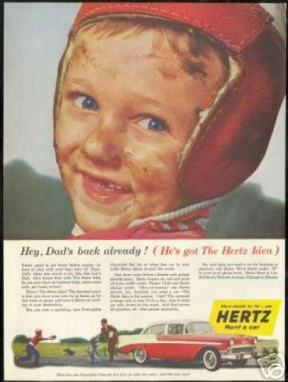 Chevrolet Boy Football Player Hertz Rent A Car (1956)