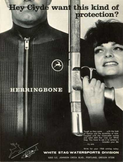 White Stag Herringbone Wet Diver Suit Spear Gun (1968)