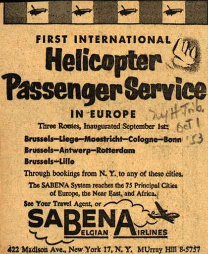 Sabena Belgian Airline's Helicopter Passenger Service – First International Helicopter Passenger Service In Europe (1953)