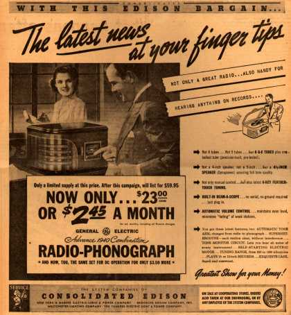 Consolidated Edison's GE Advance 1940 Combination Radio-Phono – The latest news at your finger tips (1939)