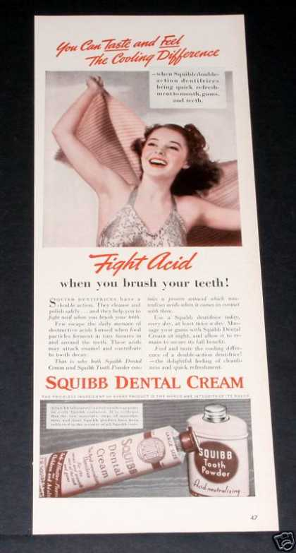 Old , Squibb Dental Cream, Teeth (1939)