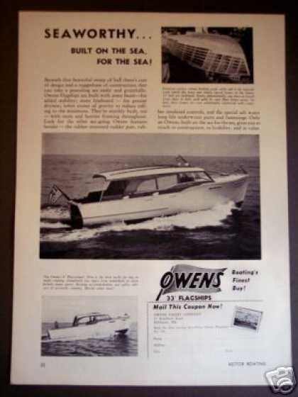 Owens 33' Flagships + Playcruiser Boat Photo (1950)