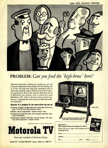 "Motorola – Problem: Can you find the ""high-brow"" here? (1951)"