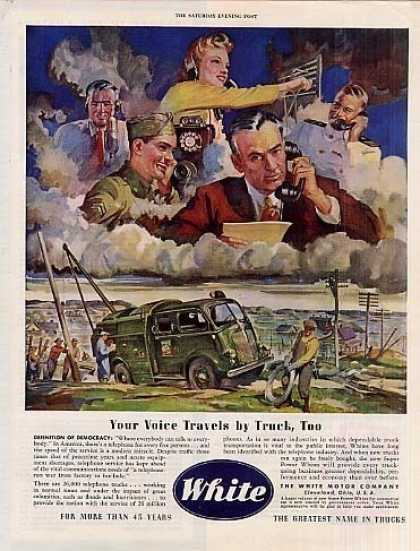 "White Truck Ad ""Your Voice Travels... (1945)"