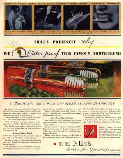 Western Company's Dr. West's Tooth Brush – That's Precisely why We Water proof This Famous Toothbrush (1933)