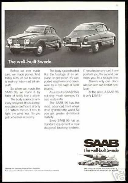 Saab 96 Photo Well Built Vintage Print Car (1970)