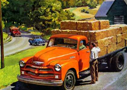 "Chevrolet trucks are ""making hay"" on all kinds of hauling jobs (1954)"