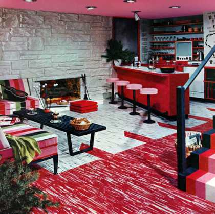 """Sundae"" basement solves everyday problems 			Excelon Tile Styles 777 and 770 			Armstrong Cork Company (1956)"