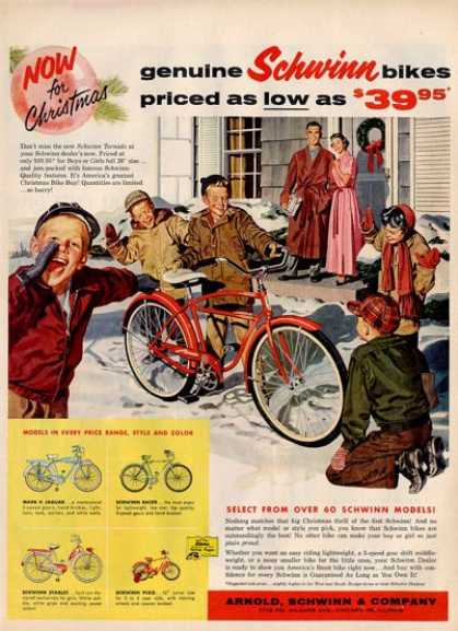 Schwinn Bicycle Racer Starlet Pixie Ad T (1957)
