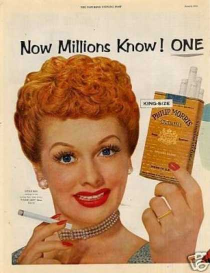 Philip Morris Cigarettes Ad Lucille Ball 2 Page (1953)