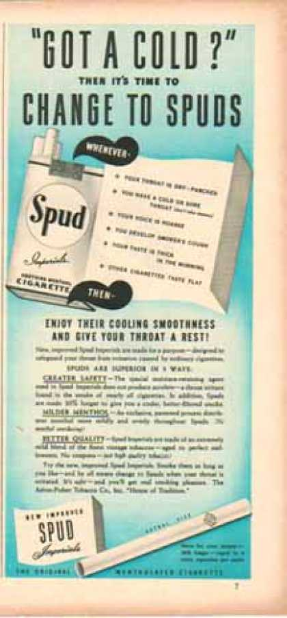 Spud Cigarettes – Axton Fisher Tobacco Company – Sold (1942)