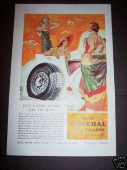 Original General Dual Balloon Car Tires Art (1933)