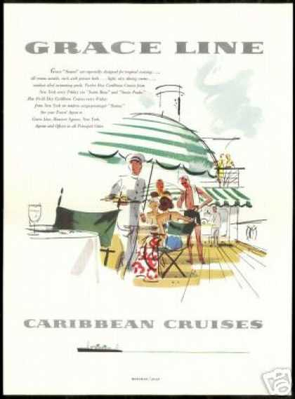 Grace Line Santa Cruise Ship Caribbean Shaw Art (1954)