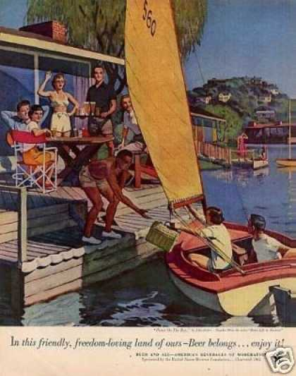 "Beer Belongs Ad ""Picnic On the Bay"" Falter Art (1953)"