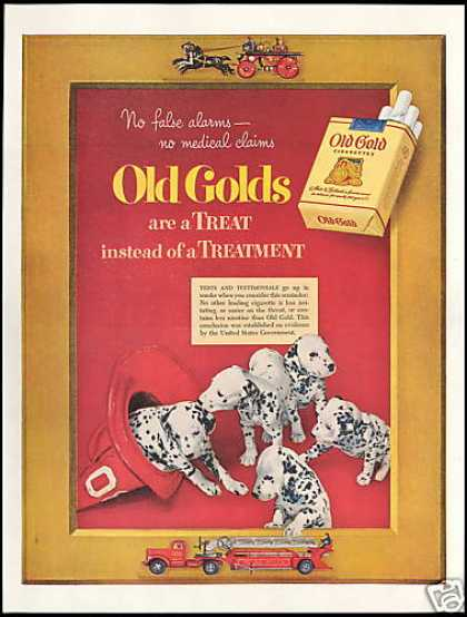 Dalmatian Dog Fire Engine Old Gold Cigarette (1952)